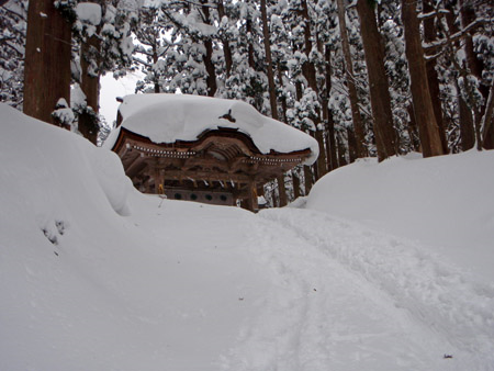 雪の大神山神社神門