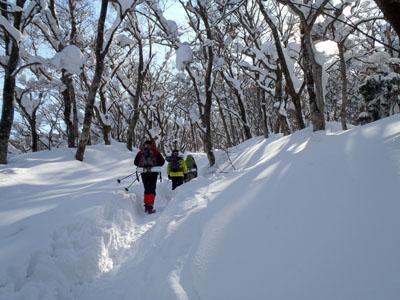 冬の大山登山
