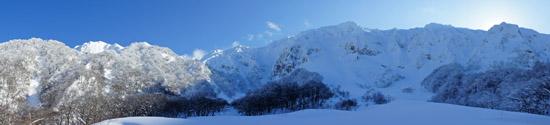 雪の大山北壁パノラマ