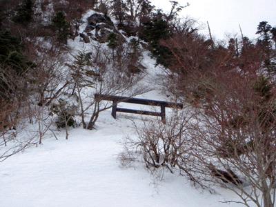 冬の石鎚山鎖場