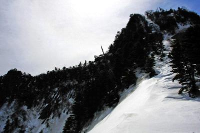 冬の石鎚山三の鎖