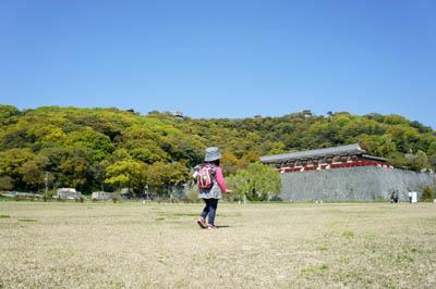 松山城幼児連れ登山