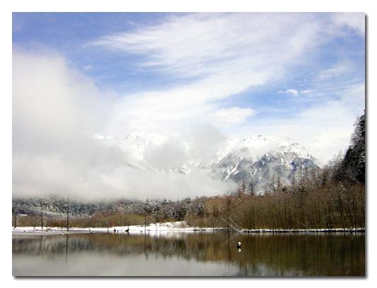 大正池と穂高岳