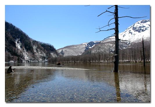 残雪の大正池