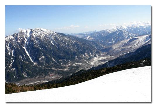 西穂高稜線から見下ろす上府