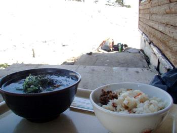 西穂山荘の昼食
