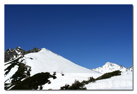 雪の西穂高と前穂高