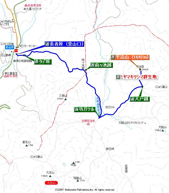平治岳登山地図