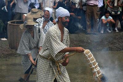 どろんこ祭り畔豆植え
