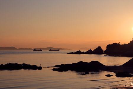 風早長浜海岸の夕景