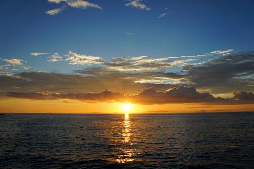 五色姫浜の夕日