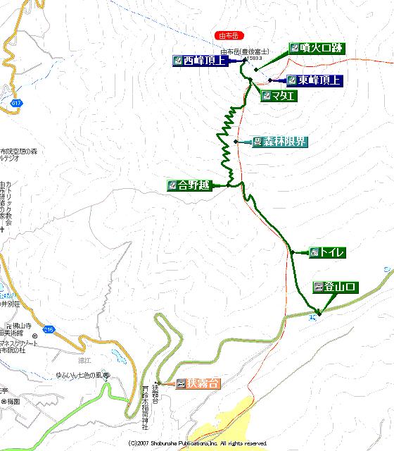 由布岳登山地図