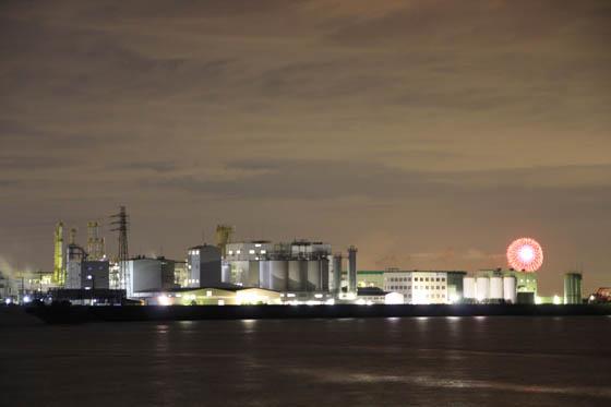 四日市臨海工業地帯夜景と花火
