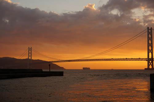 夕やけの明石海峡