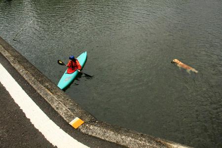佐田沈下橋とカヌー