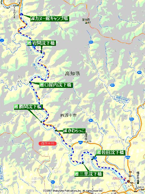 四万十川沈下橋マップ