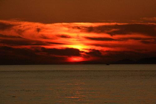 五色姫海浜公園の夕日