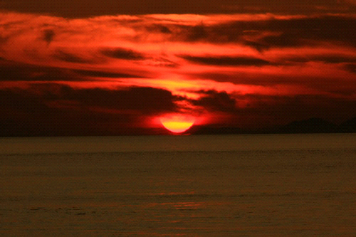 五色姫海浜公園の日没