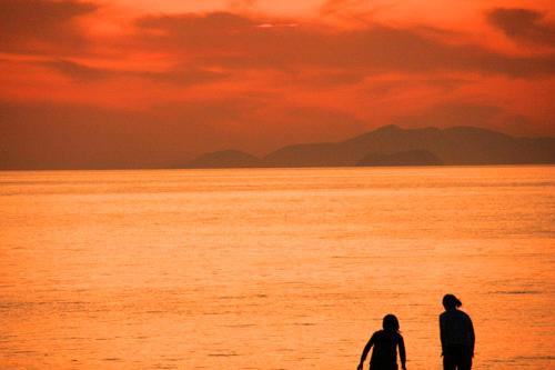 五色姫浜の夕景