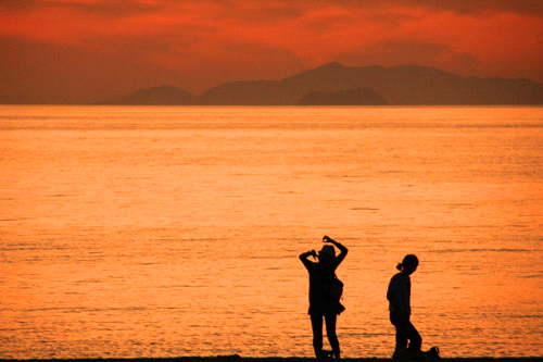 五色姫海浜公園の夕景