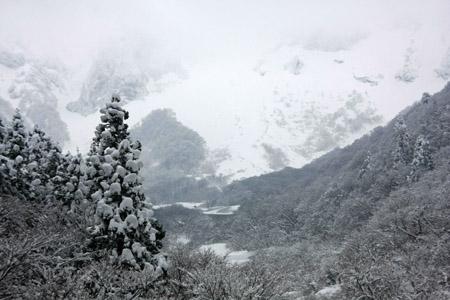冬の大山北壁