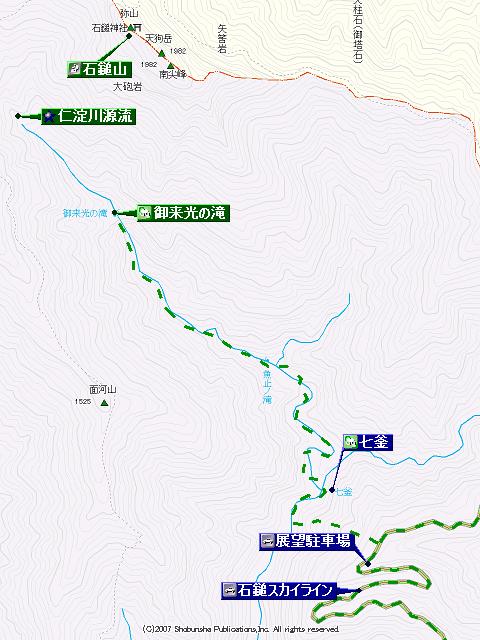 御来光の滝登山地図